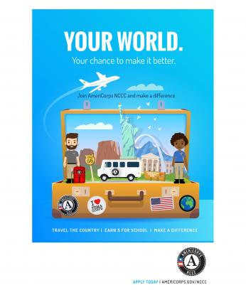 Your World. AmeriCorps NCCC Poster (Blank space footer)