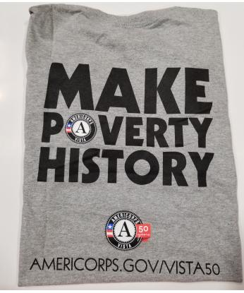 "T-Shirt: AmeriCorps VISTA 50th ""Make Poverty History"" (XL) Grey"