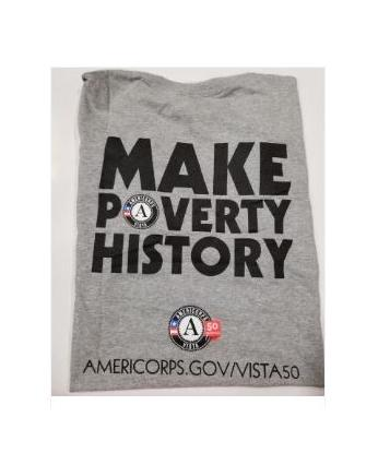 "T-Shirt: AmeriCorps VISTA 50th ""Make Poverty History"" (3X) Grey"
