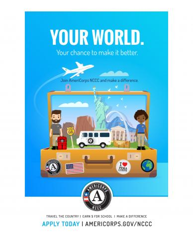 Your World. AmeriCorps NCCC Poster (Detailed footer)