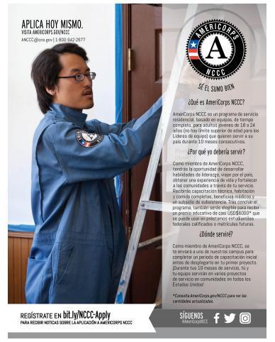 AmeriCorps NCCC Program Flyer - Spanish/español