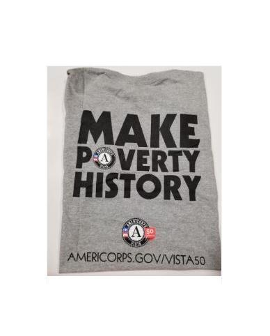 "T-Shirt: AmeriCorps VISTA 50th ""Make Poverty History"" (3X) Grey"